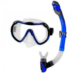 Zestaw AQUA-SPEED - maska JAVA + sucha fajka ELBA granatowy