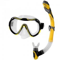 Zestaw AQUA-SPEED - maska JAVA + sucha fajka ELBA żółty