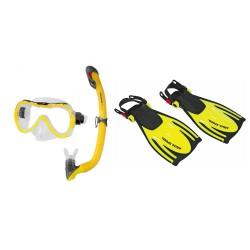 Zestaw dziecięcy ABC AQUA-SPEED maska, fajka, płetwy żółty