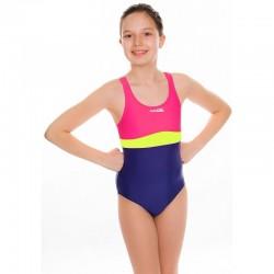 Kostium kąpielowy pływacki dziewczęcy EMILY fioletowo-różowy